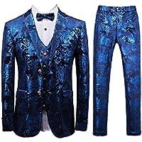 Howely Mens Premium Party Suit 3-Piece Blazer Jacket Vest Flat Front Pants