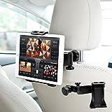 車載ホルダー タブレット 後部座席 ヘッドレスト 360度回転 タブレット&スマホ両対応 ヘッドレスト取付式 4.7-10インチ対応 車載用 ホルダー