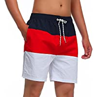 MILANKERR Men's Swim Trunk,Red,Small