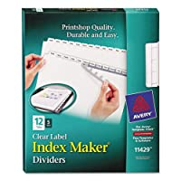 Avery印刷&適用クリアラベルディバイダーW /ホワイトタブ、12-tab、手紙、5セット