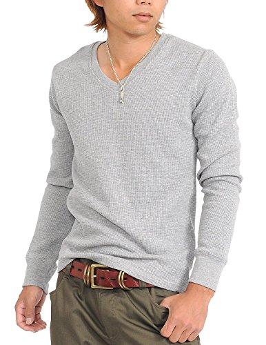 (スペイド) SPADE Tシャツ メンズ 長袖 ロング ロングTシャツ サーマル 無地 Vネック【w145】 (XL, グレー)