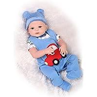 NPKDOLL リボーンベビードールハードシミュレーションシリコーンビニール22インチの55センチメートルアクリルアイズと磁気の口リアルなかわいい防水子供のおもちゃの赤い車のドレス Reborn Baby Doll A1JP