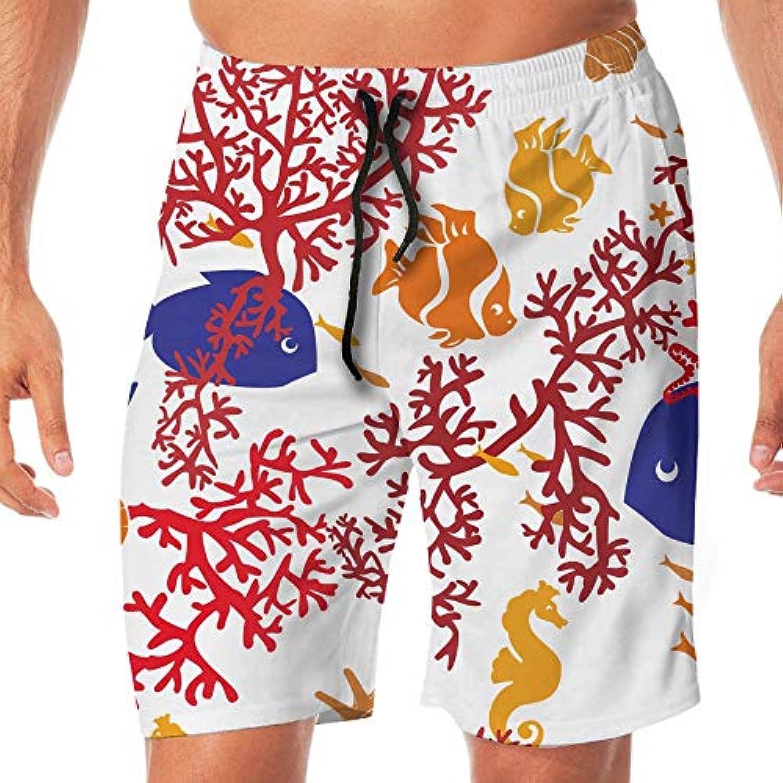 メンズ水着 ビーチショーツ ショートパンツ ブルー魚レッド花パターン スイムショーツ サーフトランクス 速乾 水陸両用 調節可能