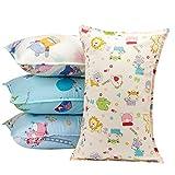 【4枚組】MADHOLLY ジュニア用枕カバー ピロケース 35×55cm 綿100% 抗菌防臭 寝具 布団カバー  子供用 動物柄