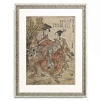 葛飾北斎 Katsushika Hokusai 「仁和嘉狂言 正月 禿万歳」 額装アート作品