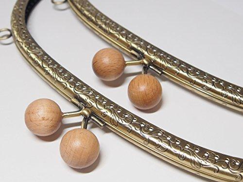 木のぬくもり 木製あめ玉 20㎜ 7個セット 口金 がま口 24.5cm アンティークゴールド 縫い付け 丸型 くし型 和 着物