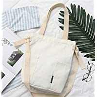 Student Tote Bag, Female Canvas Adjustable Shoulder Strap Bag Simple Light File Shopping Travel Handbag (Beige) Polykor