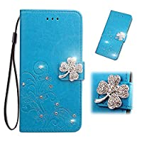 Moto G7 Power Wallet Case, WVYMX 3D Bling Flower PU Leather Case Shock-Absorption Flexible Cell Phone Soft Full-Body Protective Cover Case for Motorola Moto G7 Power Blue