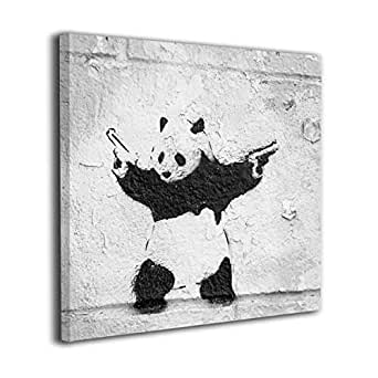 Banksy バンクシー ストリート アートパネル キャンバス絵画 正方形 絵画 インテリア 壁飾り フレーム装飾画 玄関 インテリア モダンアート 木枠セット(30*30cm)
