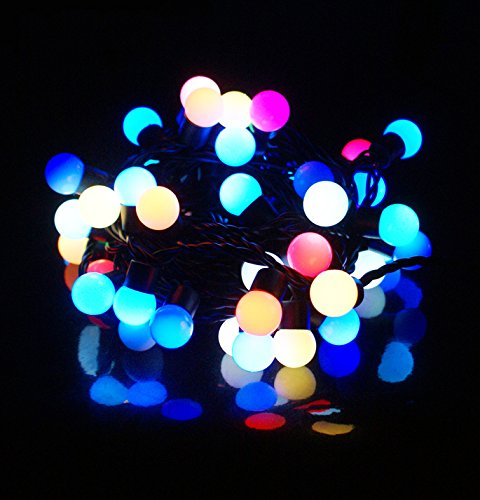 BIENNA LEDイルミネーションライト 電源プラグ式 電飾 装飾ライト LEDストリングライト 室内 室外 庭 クリスマス 学園祭 祝日 結婚式 耐熱 防水 低圧 5M/50LED バブル型