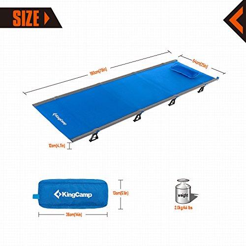 KingCamp(キングキャンプ) 折り畳み式ベッド アルミ 超軽量 重さ2KG 耐荷重120KG 携帯便利 (ブルー)