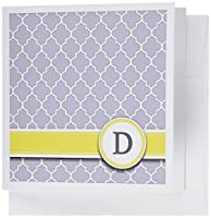 InspirationzStore Monograms–Your個人名初期文字D–モノグラムグレー四つ葉模様–カスタマイズイエローグレー–グリーティングカード Set of 6 Greeting Cards