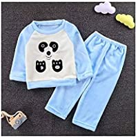LUKEEXIN Children's Flannel Pajamas Baby Boys Girls Thick Cute Soft Sleepwear Sets (Color : J, Size : 8T)