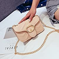 新しい 女性 クロスボディ 小さい フレグランス ミニ バッグ チェーン ショルダーバッグ おしゃれバッグ (Color : Beige, Size : S)
