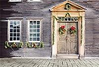 Qinunipoto ビニール 3m x 2.1m イタリア木造住宅の背景古い家の建築緑の葉飾りドア写真背景恋人大人観光ポートレート写真撮影ビデオスタジオの小道具
