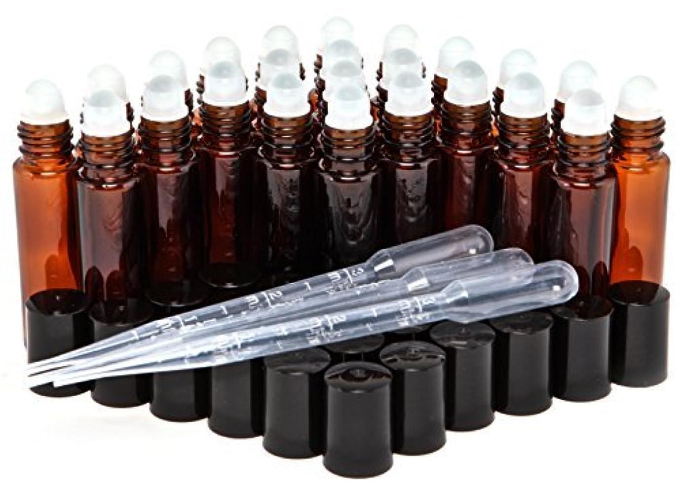 こねるフィット妥協24, Amber, 10 ml Glass Roll On Bottles with 3-3 ml Dropper's [並行輸入品]