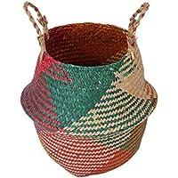 B Blesiya 庭花バスケット ラタン籐 ハンド 織り バスケット ガーデン 花瓶 ポットホルダー 全3種 - 1