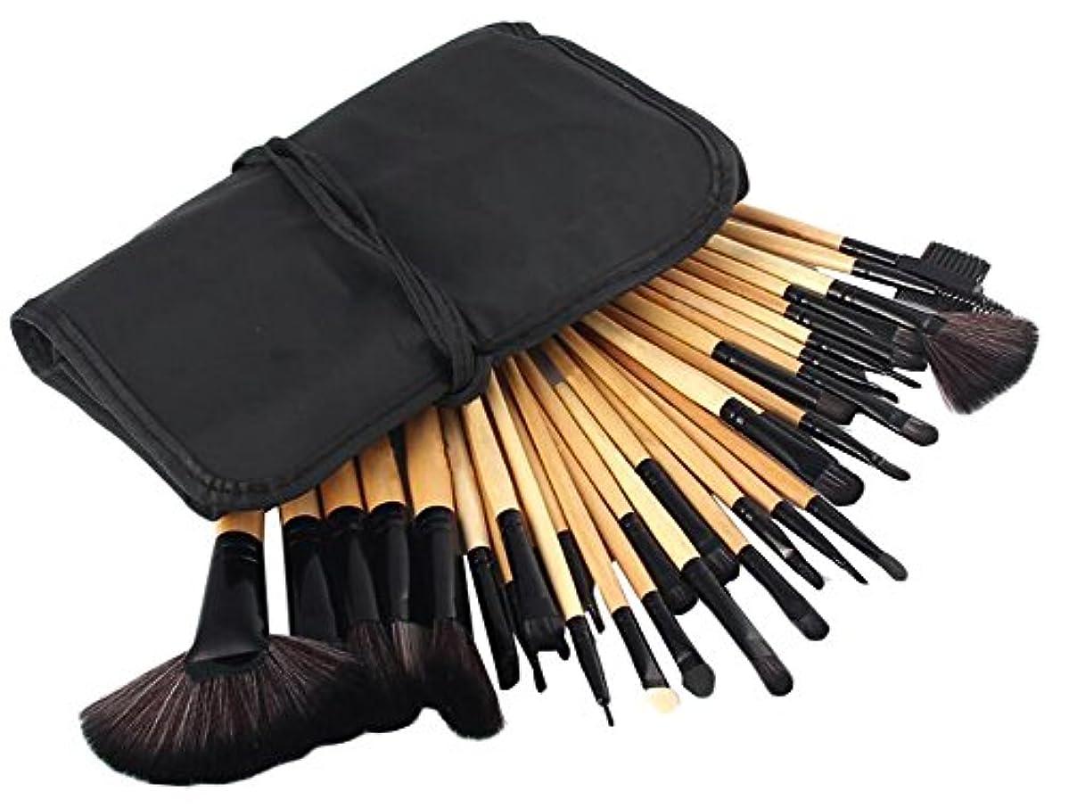 悪魔ナチュラル習字IvyOnly メイクブラシセット 32本セット 化粧筆 化粧ブラシ 極細 収納ケース付き 木製ハンドル 布袋 (木)