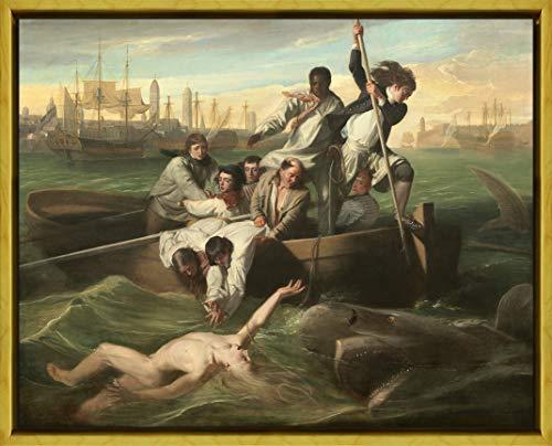 フレーム John Singleton Copley ジクレープリント キャンバス 印刷 複製画 絵画 ポスター(ワトソンとサメ)