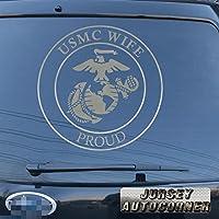 3s MOTORLINE USMC Proud妻デカールステッカーUnited States Marine Corps車ビニールPickサイズカラーDie Cut No背景A 16'' (40.6cm) ブラック 20180326s3