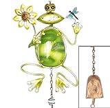 誕生日 に 幸運の プレゼント カエル の ベル付き ガーデンオーナメント (A:花 と トンボ)