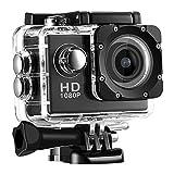 1080P スポーツカメラ 140度広角 30M防水 アウトドアスポーツに最適 多機能コンパクトカメラ(ブラック)
