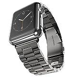 エルメス 腕時計 Evershop Apple Watch 金属ベルト 38mmステンレスベルト ビジネス風 時計バンド 腕時計ストラップ 高級金属製時計ベルト series 1 series 2 series 3対応(Black)