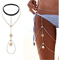 Simsly Thigh Body Belly Chain with Turquoise Waist Jewelry for Women and Girls BD-07 (Gold)