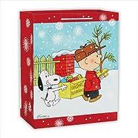 ホールマーク クリスマスペーパーバッグ スヌーピー チャーリーとツリー飾り Lサイズ 1