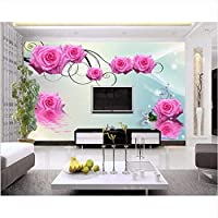 Weaeo 3Dローズフラワープリントの壁紙 リビングルームのテレビホームインテリア写真壁画-280X200Cm