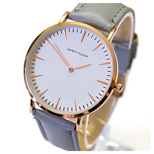 Un petit plaisir 腕時計 ウォッチ ホワイト文字盤 革ベルト レザー アナログ クラシック シンプル メンズ レディース (グレー)