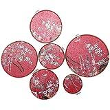 Baoblaze 6個セット 梅の花 刺繍 木製フレーム 写真背景 レトロ ペンダント フォトプロップ