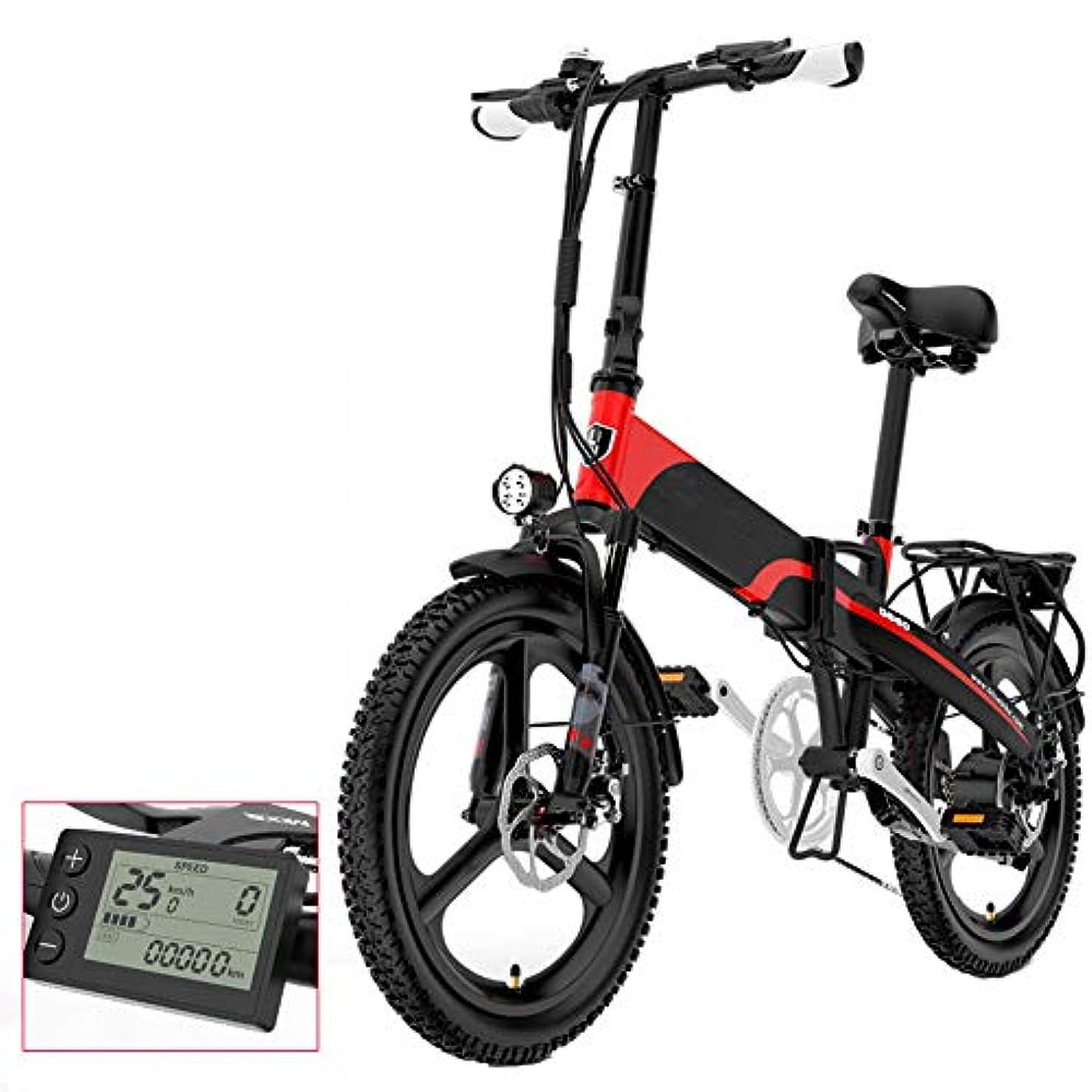 スカルク消費者ラップトップ男性と女性のための折りたたみ電動自転車、48V電動自転車、20インチの定速クルーズ電気自動車、ポータブル折りたたみ自転車の電子表示画面と,赤,48V/12.8AH/75KM