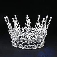 Stylish and Elegant Crown Princess Tiara Crown Crystal Party Crown Big Hair Bands Performance Hair Accessories Birthday Senior Royal Treasures wsd (Couleur du métal : Plaqué Argent)