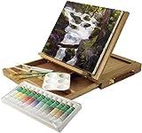 アートアドバンテージ 木製イーゼルボックス×キャンバス×アクリル絵の具12色×筆2本×パレットナイフ2本×パレット1個セット
