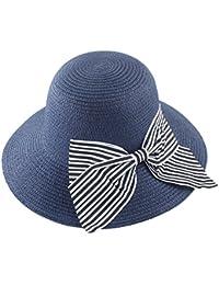 YueLian ストローハット 麦わら帽子 バケットハット UVカット 紫外線対策 日焼け対策 レディース 帽子 ハット アウトドア帽子 蝶結び ビーチハット つば広 お出かけ