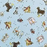 輸入生地 WINDHAM FABRICS ウィンダムファブリック 牛・豚・犬 ブルー USAコットン 巾約110cm×50cmカットクロス WIN51094-2-50