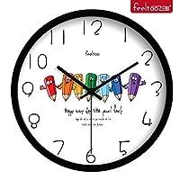 18-AnyzhanTrade ウォールクロックサイレントムーブメントウォールクロックホームオフィスの装飾リビングルームベッドルームとキッチンクロックウォールミュート子供部屋 (Color : Black Box, サイズ : 10 In.)