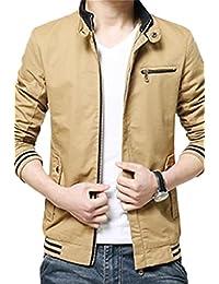 maweisong メンズカジュアルアップ固綿がよいスタンドカラージャケットコートジップ