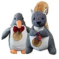 武田コーポレーション アニマルドアストッパー ペンギン・リス 2点セット(玄関 室内 ドア かわいい ストッパー 動物 プレゼント ギフト)