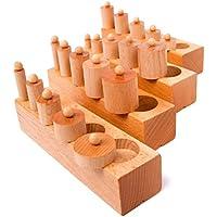 モンテッソーリ 幼児 早期 教育 教材 知育玩具 ぶなの木 素材 シリンダー ブロック 4本 セット 円柱さし ( 知育教材2点付き , Fun Market )