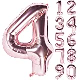 Angel&tribe 番号 0-9 誕生日 パーティー 装飾 ローズ ゴールド ヘリウム 箔 マイラー 大きい 番号 バルーン 101cm/40インチ シャンパン 番号4