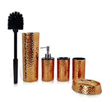 5 Piece Bathroom & Sink Accessory Set - Bronze Finish Modern Vanity Accessories Kit Include Tumbler, Toothbrush Holder, Lotion Pump Dispenser, Soap Dish & Toilet Brush Holder - SereneLife SLBATAC03