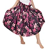 DFギャラリー パウスカート フラ ダンス衣装 レッスン着 シングル JA3948 75cm丈 ブラックxピンク