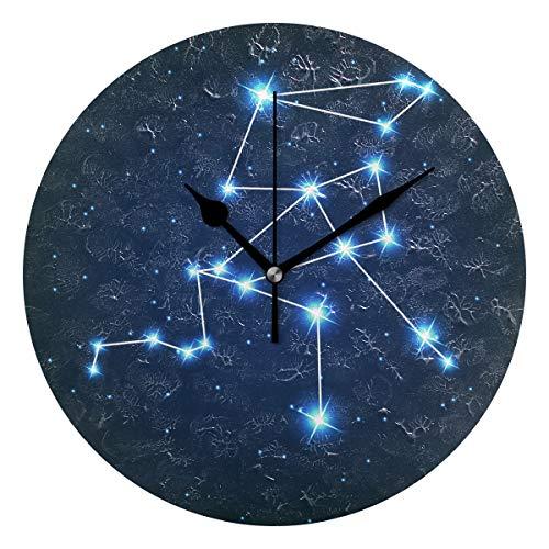 ユキオ(UKIO) 掛け時計 置き時計 壁掛け時計 室内 部屋装飾 壁時計 インテリア おしゃれ 北欧 ヘルクレス座 星座柄 ギフト 時計 アート 部屋 ウォールクロック 円型 かわいい
