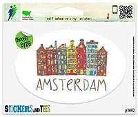"""オランダアムステルダム旅行スタンプビニール車バンパーウィンドウステッカー Regular - 6"""" x 4"""" p3002B"""