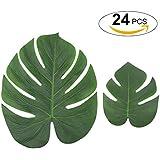 Funpa シミュレーション 花 植物 葉 熱帯 装飾 プラスチック パーティー ハワイ 誕生日 ビーチ アクセサリー グリーン カラフル 24件セット 36件セット 54件セット 60件セット