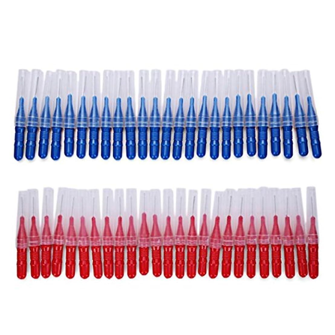 例示するシリング手2.5ミリメートル50ピース/セットブラッシング歯すきま歯ブラシクリーニングツール歯のケア歯科用歯間ブラシ - 赤と青