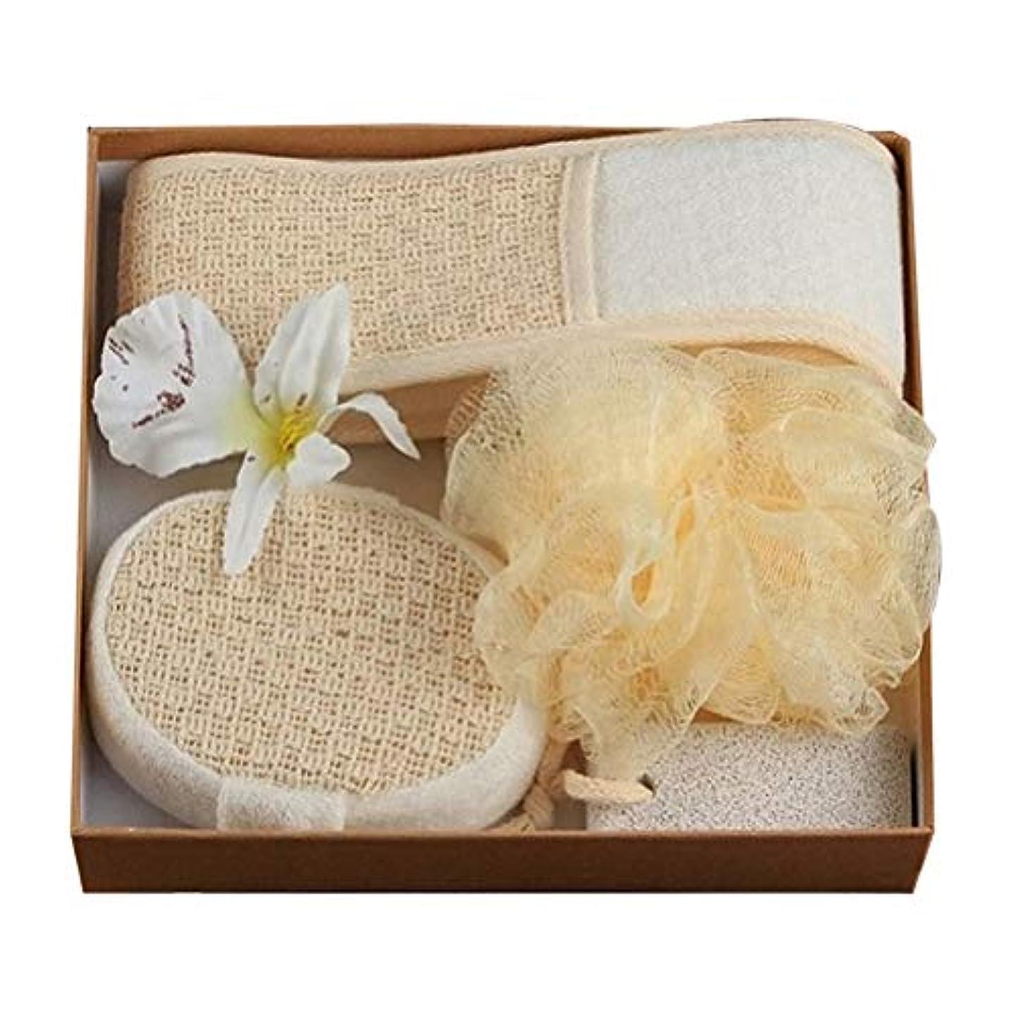 靴下芽嵐Healifty 4PCSボディクリーニングツールは、女性の男性のためのエクスフォリエーションシャワーボールバススクラバーストリップバススポンジを設定します(白い花なし)