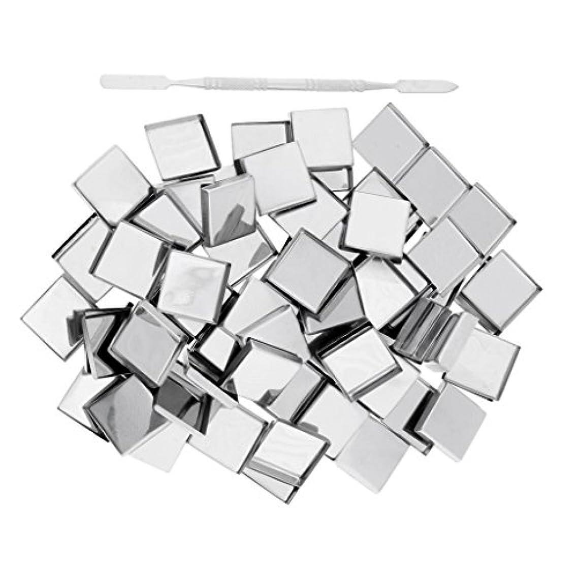 日の出数学的な傾いたToygogo 100個の空のアイシャドウブラッシュメイクアップパンマグネットティンパレットスクエア+スティック - スクエアパン